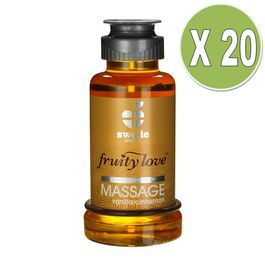 FRUITY LOVE ACEITE MASAJE EFECTOR CALOR 100 ML VAINILLA / CANELA PACK 20 UDS