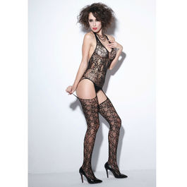 QUEEN LINGERIE - BODYSTOCKING LIGUERO NEGRO