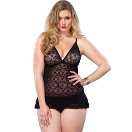LEG AVENUE CHEMISE WITH LAYERED RUFFLE TALLA GRANDE