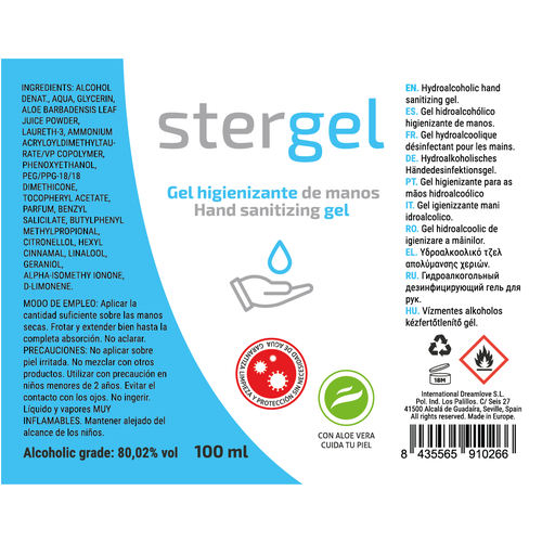 STERGEL  HIDROALCOHOLICO DESINFECTANTE COVID-19 100ML